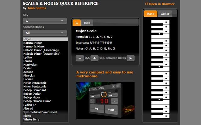 Scales & Modes Quick Reference Screenshot